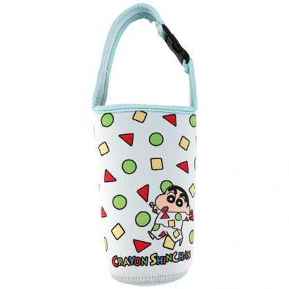 小禮堂 蠟筆小新 潛水布水壺袋 環保杯袋 飲料杯袋 水壺套 (綠 睡衣)