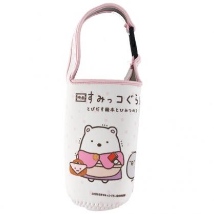 小禮堂 角落生物 北極熊 潛水布水壺袋 環保杯袋 飲料杯袋 水壺套 (白 童話)