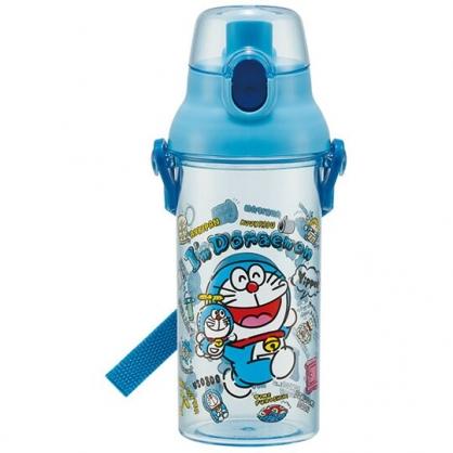 小禮堂 哆啦A夢 日製 透明直飲式水壺 附背帶 塑膠水瓶 兒童水壺 隨身瓶 480ml (藍 玩偶)
