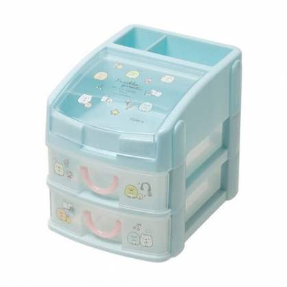 小禮堂 角落生物 頂層掀蓋塑膠雙抽收納盒 透明抽屜盒 文具盒 飾品盒 (藍 排坐)