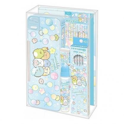 小禮堂 角落生物 日製 六件式文具組 2B鉛筆 筆記本 鉛筆盒 橡皮擦 筆蓋 膠水 (藍 汽球)