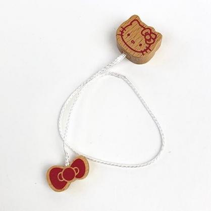 小禮堂 Hello Kitty 造型木質書籤線 雙頭書籤線 隔頁線 木書籤 (棕 大臉)