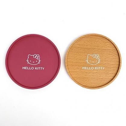 小禮堂 Hello Kitty 圓形木質杯墊 隔熱杯墊 止滑杯墊 木杯墊 圓杯墊 (2入 棕紅 大臉)