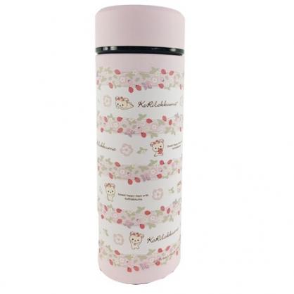 小禮堂 懶懶熊 牛奶熊 旋轉不鏽鋼保溫瓶 不鏽鋼水瓶 兒童水壺 隨身瓶 350ml (粉 草莓)