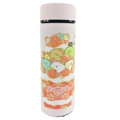 小禮堂 角落生物 旋轉不鏽鋼保溫瓶 不鏽鋼水瓶 兒童水壺 隨身瓶 350ml (粉 草莓)