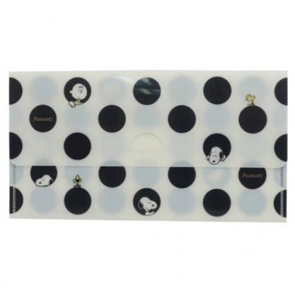 小禮堂 史努比 日製 塑膠口罩夾 口罩包 口罩套 口罩收納 (黑白 點點)