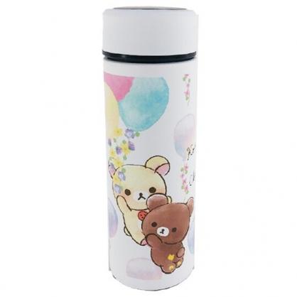 小禮堂 懶懶熊 旋轉不鏽鋼保溫瓶 不鏽鋼水瓶 兒童水壺 隨身瓶 350ml (白 汽球)