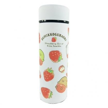 小禮堂 角落生物 旋轉不鏽鋼保溫瓶 不鏽鋼水瓶 兒童水壺 隨身瓶 350ml (白 草莓)