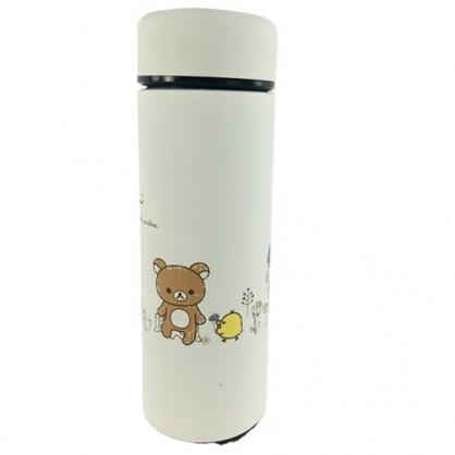 小禮堂 懶懶熊 旋轉不鏽鋼保溫瓶 不鏽鋼水瓶 兒童水壺 隨身瓶 350ml (米 花草)