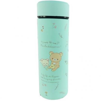 小禮堂 懶懶熊 旋轉不鏽鋼保溫瓶 不鏽鋼水瓶 兒童水壺 隨身瓶 350ml (綠 花草)