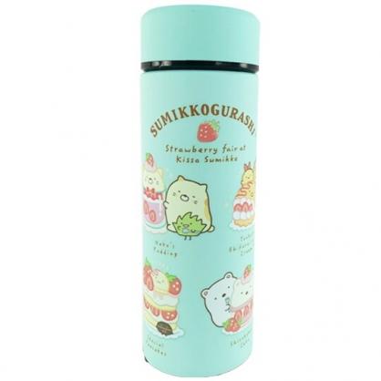 小禮堂 角落生物 旋轉不鏽鋼保溫瓶 不鏽鋼水瓶 兒童水壺 隨身瓶 350ml (綠 草莓)