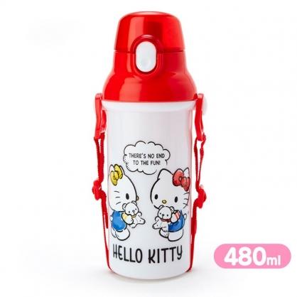小禮堂 Hello Kitty 日製 直飲式水壺 附背帶 塑膠水瓶 兒童水壺 隨身瓶 480ml (白 對話)