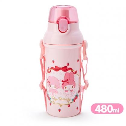 小禮堂 美樂蒂 日製 直飲式水壺 附背帶 塑膠水瓶 兒童水壺 隨身瓶 480ml (粉 草莓)