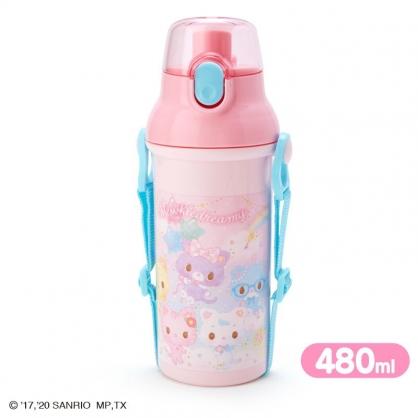 小禮堂 甜夢貓 日製 直飲式水壺 附背帶 塑膠水瓶 兒童水壺 隨身瓶 480ml (粉 彩虹)