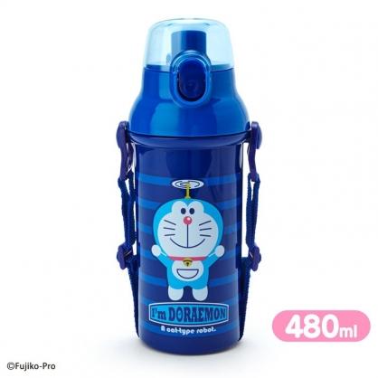 小禮堂 哆啦A夢 日製 直飲式水壺 附背帶 塑膠水瓶 兒童水壺 隨身瓶 480ml (藍 橫紋)