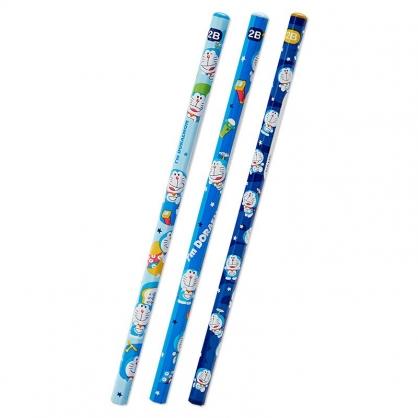 小禮堂 哆啦A夢 六角鉛筆組 2B鉛筆 木鉛筆 (3入 藍 滿版)