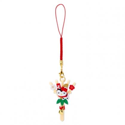 小禮堂 Hello Kitty 造型塑膠吊飾 新年吊飾 祈福吊飾 玩偶鑰匙圈 (棕 熊手)