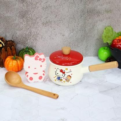 小禮堂 Hello Kitty 單柄琺瑯瓷鍋 附湯勺 湯鍋 牛奶鍋 泡麵鍋 巧克力鍋 1500ml (米紅)