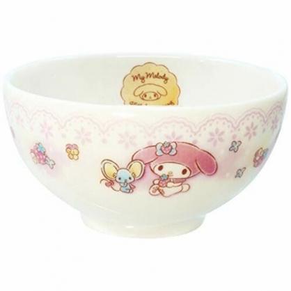 小禮堂 美樂蒂 日製 陶瓷碗 火鍋碗 飯碗 湯碗 金正陶器 (粉白 蕾絲)