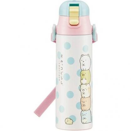 小禮堂 角落生物 彈蓋不鏽鋼保溫瓶 不鏽鋼水瓶 兒童水壺 隨身瓶 580ml (白綠 點點)