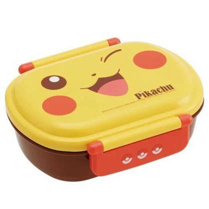小禮堂 寶可夢 皮卡丘 日製 雙扣微波便當盒 塑膠便當盒 保鮮盒 360ml (黃 大臉)