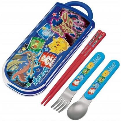 小禮堂 寶可夢 皮卡丘 日製 滑蓋三件式餐具組 叉匙筷 兒童餐具 環保餐具 (藍 框框)