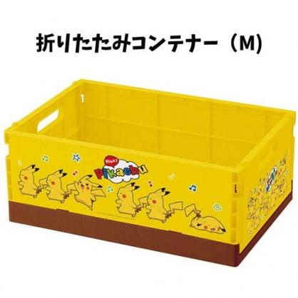 小禮堂 寶可夢 皮卡丘 折疊無蓋收納箱 塑膠收納箱 折疊收納箱 小物箱 (M 黃 音符)