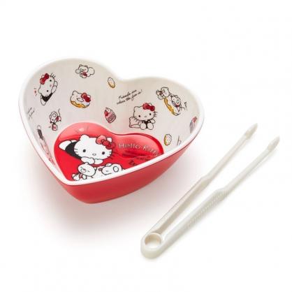 小禮堂 Hello Kitty 造型美耐皿碗 附零食夾 點心碗 甜點碗 零食碗 (紅 愛心)