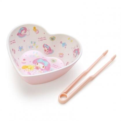 小禮堂 美樂蒂 造型美耐皿碗 附零食夾 點心碗 甜點碗 零食碗 (粉 愛心)