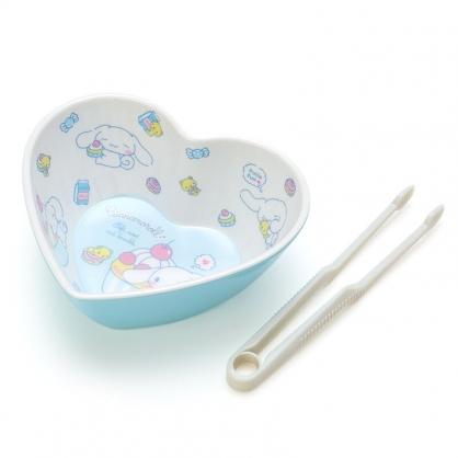 小禮堂 大耳狗 造型美耐皿碗 附零食夾 點心碗 甜點碗 零食碗 (藍 愛心)