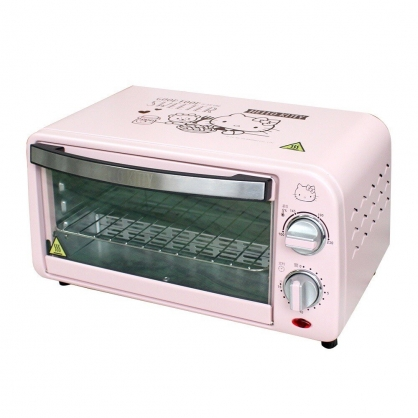 小禮堂 Hello Kitty 800W電烤箱 麵包烤箱 烘焙烤箱 家用烤箱 吐司機 9L (粉)