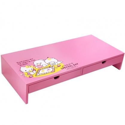 小禮堂 Sanrio大集合 橫式木質雙抽螢幕架 抽屜架 鍵盤架 電腦架 (粉 大富翁)