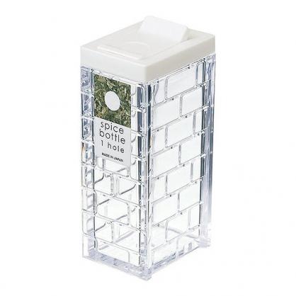 小禮堂 Inomata 日製 方形透明調味罐 塑膠調味罐 鹽罐 胡椒罐 63ml (白蓋)