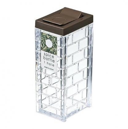 小禮堂 Inomata 日製 方形透明調味罐 塑膠調味罐 鹽罐 胡椒罐 63ml (棕蓋)