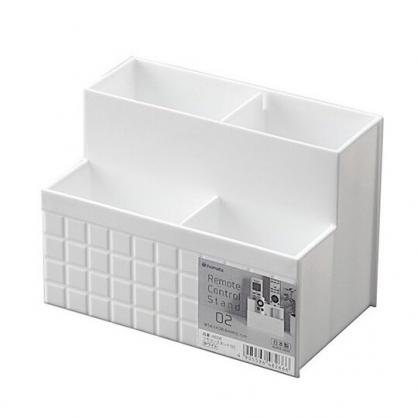 小禮堂 Inomata 日製 階梯型雙排遙控器收納盒 刷具筒 筆筒 小物盒 (白)