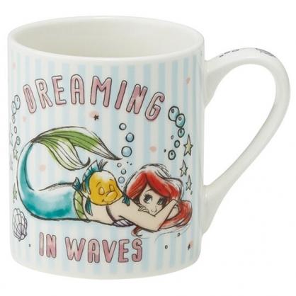 小禮堂 迪士尼 小美人魚 陶瓷馬克杯 咖啡杯 茶杯 陶瓷杯 240ml (藍白 直紋)
