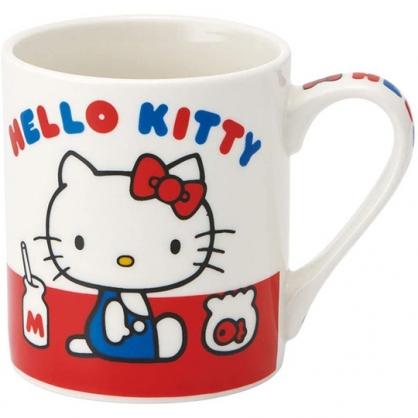 小禮堂 Hello Kitty 陶瓷馬克杯 咖啡杯 茶杯 陶瓷杯 240ml (紅白 側坐)