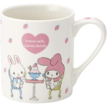 小禮堂 美樂蒂 陶瓷馬克杯 咖啡杯 茶杯 陶瓷杯 240ml (粉白 餐桌)