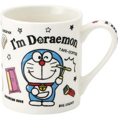 小禮堂 哆啦A夢 陶瓷馬克杯 咖啡杯 茶杯 陶瓷杯 240ml (白藍 道具)