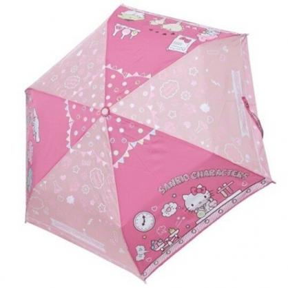 小禮堂 Sanrio大集合 彎把防風傘骨折疊傘 防風折傘 彎把折傘 雨傘 (粉 實驗室)