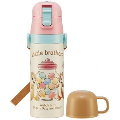小禮堂 迪士尼 奇奇蒂蒂 兩用不鏽鋼保溫瓶 附背帶 不鏽鋼水瓶 兒童水壺 隨身瓶 470ml (粉黃 糖果)
