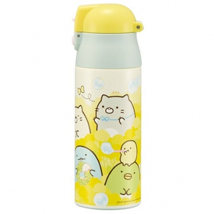 小禮堂 角落生物 彈蓋不鏽鋼保溫瓶 不鏽鋼水瓶 兒童水壺 隨身瓶 360ml (黃 泡泡)