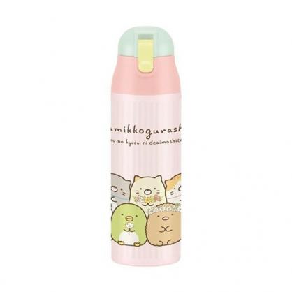 小禮堂 角落生物 彈蓋不鏽鋼保溫瓶 不鏽鋼水瓶 兒童水壺 隨身瓶 500ml (粉 花圈)