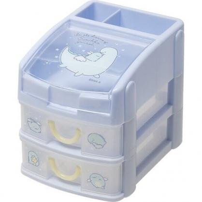 小禮堂 角落生物 恐龍 頂層掀蓋塑膠雙抽收納盒 透明抽屜盒 文具盒 飾品盒 (藍 翅膀)