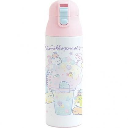 小禮堂 角落生物 彈蓋不鏽鋼保溫瓶 不鏽鋼水瓶 兒童水壺 隨身瓶 500ml (白 飲料)