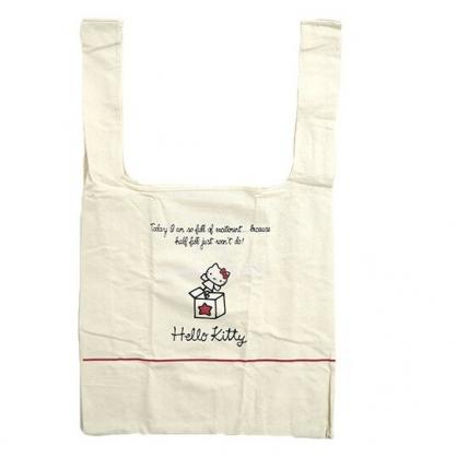 小禮堂 Hello Kitty 折疊帆布環保購物袋 環保袋 側背袋 帆布袋 (米紅 大臉)