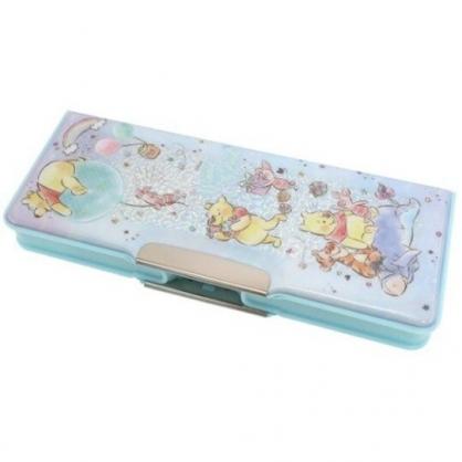 小禮堂 迪士尼 小熊維尼 雙開式鉛筆盒 多功能鉛筆盒 塑膠筆盒 鉛筆袋 (綠 汽球)