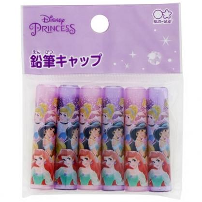 小禮堂 迪士尼 公主 日製 塑膠筆蓋組 鉛筆筆蓋 透明筆蓋 鉛筆帽 (6入 紫 半身)