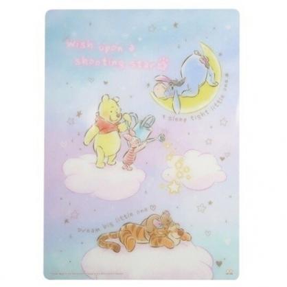 小禮堂 迪士尼 小熊維尼 日製 B5硬墊板 透明墊板 塑膠桌墊 寫字墊 (紫藍 月亮)