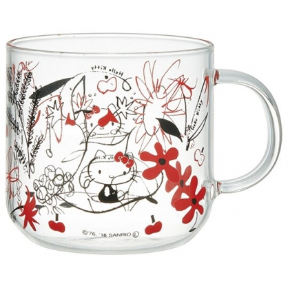 小禮堂 Hello Kitty 耐熱玻璃馬克杯 透明水杯 飲料杯 玻璃杯 320ml (紅花)